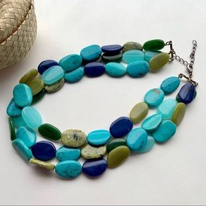 Multi-strand blue/green shiny pebble bead necklace